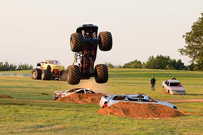 Straight up wheelies were a fan favorite at the Monster Truck races<br /> <br /> ©Sam Feinstein