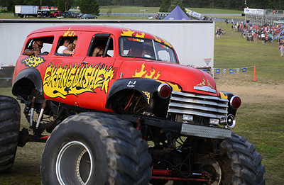 Fans get a ride in the Extinguisher Monster Truck<br /> <br /> ©Sam Feinstein
