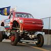 Red Solo Truck crossing the bridge at Monster Truck Night, 2013<br /> <br /> ©Sam Feinstein