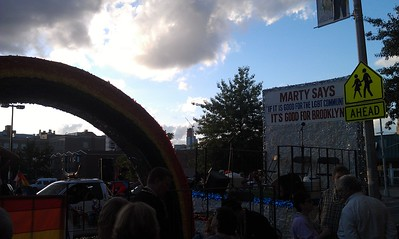 Kings County Democratic Committee float in the Brooklyn Pride Parade, featuring a banner from Borough President Marty Markowitz