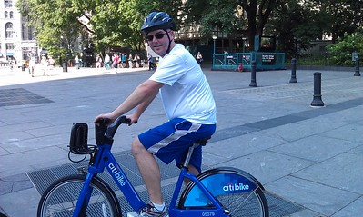 DJ on a Citi Bike, part of NYC's new bikeshare system, which launched two weeks earlier