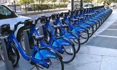 Citi Bikes in NYC's new bikeshare system, which launched two weeks earlier