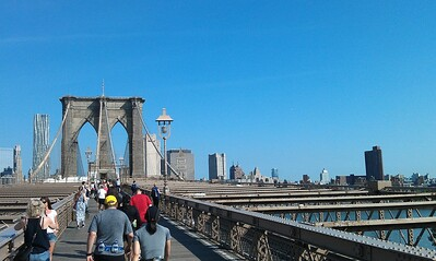 Pedestrian/bike path, above the vehicle lanes of the Brooklyn Bridge