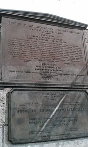 Historical plaques on the Brooklyn Bridge
