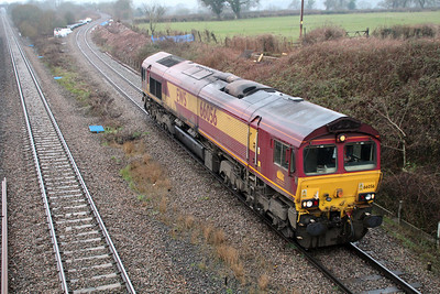 66056  1318/0o32 Margam-Dollands Moor having dropped its 2 wagons at Lanwern comes of the Bishton Flyover light engine to Dollands Moor.