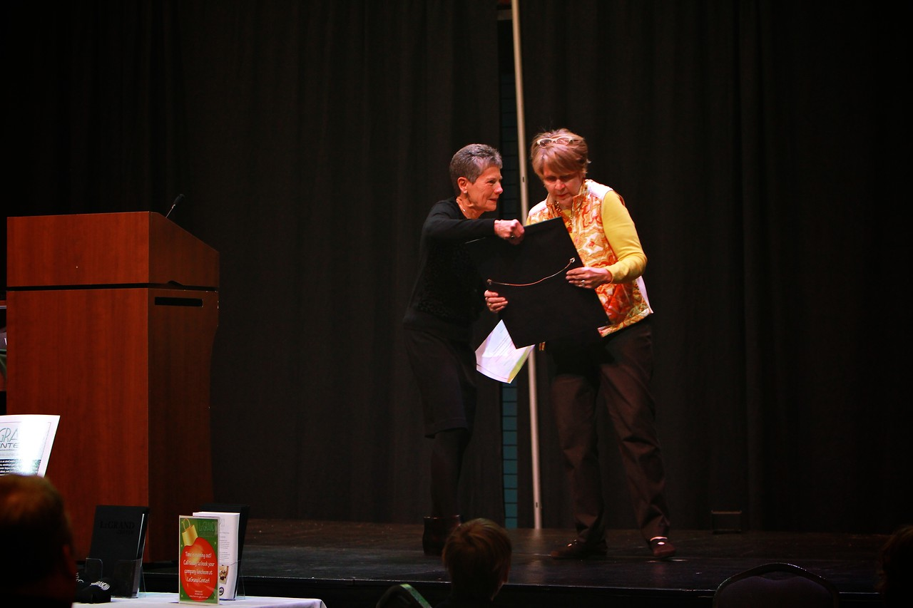 The Governor of North Carolina, the honorable Pat McCrory, has bestowed on Brownie Plaster, The Order of the Long Leaf Pine. Flossie Bonner with Brownie Plaster as Brownie is honored and awarded the Long Leaf Pine award.