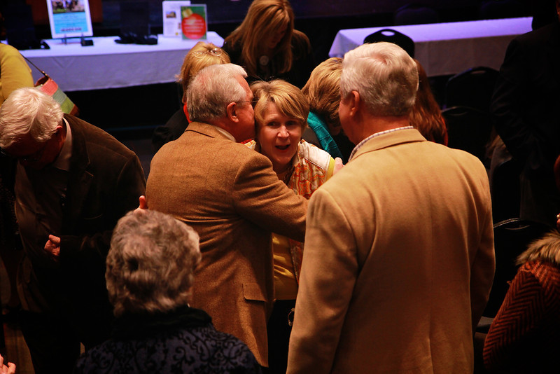 Brownie Plaster as she is greeted and thanked following the ceremony.