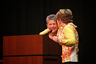 Flossie Bonner with Brownie Plaster as Brownie is honored and awarded the Long Leaf Pine award.