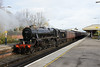29 November 2013 :: On the rear of 5Z89 from Poole to Southall is LMS Class 5MT 4-6-0 no 44871 passing through Basingstoke station
