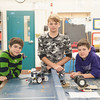 131112 Lego Robots VIERA/STAFF PHOTOGRAPHER Lockport, NY-Team wall-e: Sean Glenn (12), Ian Rickard (11), and Luke Smeal (12) stand behind their robot Wall-E on Tuesday Nov 12th, 2013.
