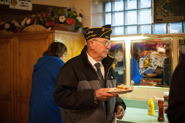 131111 American Legion JOED VIERA/STAFF PHOTOGRAPHER Lockport, NY- U.S. Navy Veteran and American Legion Vice Commander Mike Hanley walks to his table at the American Legion after the Veterans Day event in Outwater Park on Monday Nov 11th, 2013.