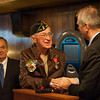 131121 WW2 MOH JOED VIERA/STAFF PHOTOGRAPHER Lockport, NY-Buffalo French Consulat Pascal Soarès shakes Ed Kolek hand at the American Legion Post on Thursday Nov 21st, 2013.