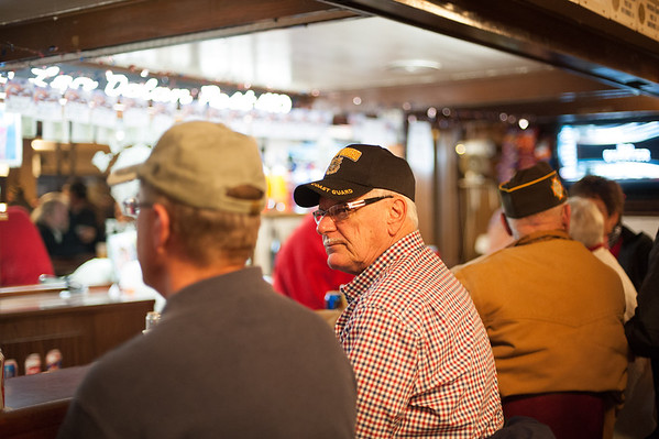 "131111 American Legion JOED VIERA/STAFF PHOTOGRAPHER Lockport, NY- U.S. Coast Guard Veteran Gene ""Rudy"" Coumont waits for his drink at the American Legion after the Veterans Day event in Outwater Park on Monday Nov 11th, 2013."