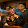 131121 WW2 MOH JOED VIERA/STAFF PHOTOGRAPHER Lockport, NY-Buffalo French Consulat Pascal Soarès pins the award on Ed Kolek at the American Legion Post on Thursday Nov 21st, 2013.