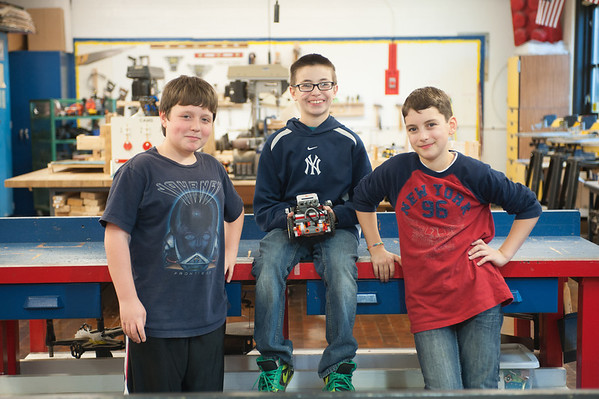 131112 Lego Robots VIERA/STAFF PHOTOGRAPHER Lockport, NY-Kyle Huber (11), Kye Phelps (11), and Ben Lagreca (11) with thier robot Jr. on Tuesday Nov 12th, 2013.