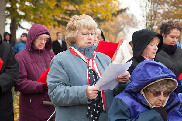 "131111 VT Day JOED VIERA/STAFF PHOTOGRAPHER Lockport, NY- Volunteers of the Barge Canal Optimist Club recite ""In Flanders Fields""  on Monday Nov 11th, 2013."
