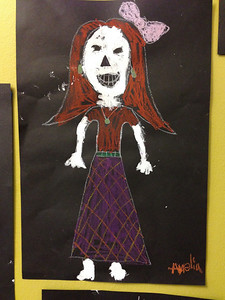 Amelia's Day of the Dead art. Very fashionable.