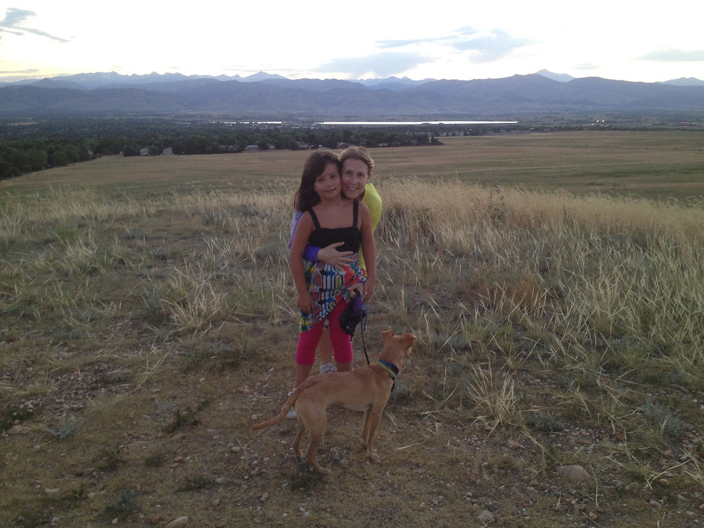 On top of our hill at sunset