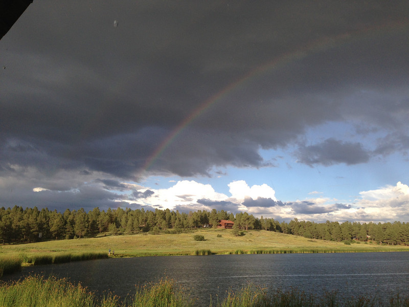 Rainbows over Lake Forest in Pagosa Springs