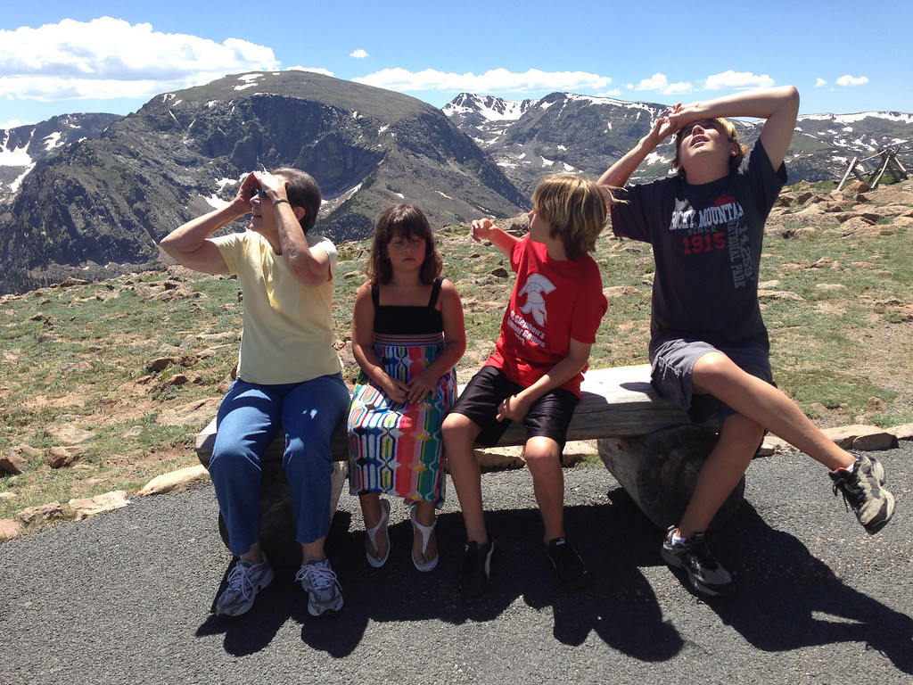 Nunu loves pointing out airplanes, even at 11,500 feet.