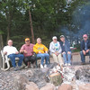 HERE WE ARE RELAXING AROUND THE CAMPFIRE AT KLEUTSCH LAKE