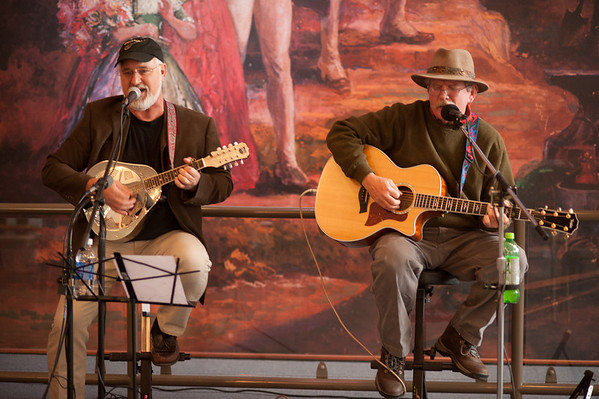 "131026 Canal Music JOED VIERA/STAFF PHOTOGRAPHER Lockport, NY- The Heenan Brothers  Rick Bauer (left), and Rick Heenan (Right) perform a ""Folksy ,bluesy kind of Americana"" at the Erie Canal Discovery Center Saturday October 26th, 2013."