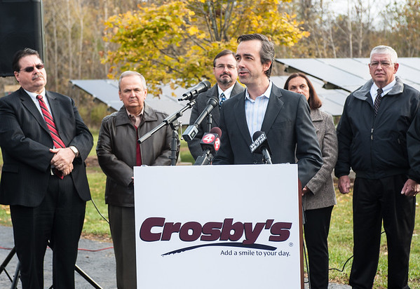 131030 Solar Store JOED VIERA/STAFF PHOTOGRAPHER Lockport, NY- Daniel Montante speaks at a press conference held outside of Crosby's to unveil a solar array system installation Wednesday Oct 30th, 2013.