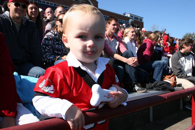Little GWU Runnin' Bulldog fan enjoying the Homecoming 2013 game.