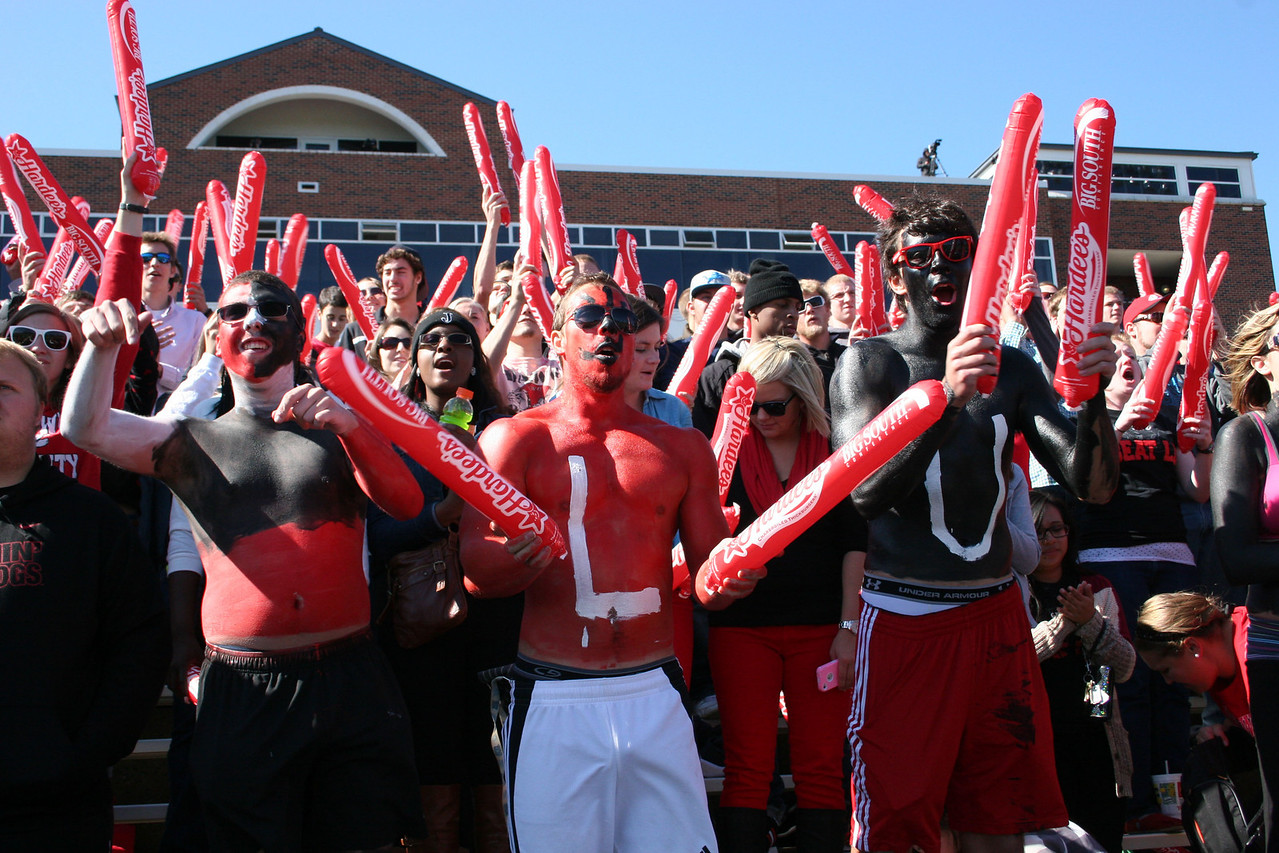 GWU students watching the GWU Runnin' Bulldogs vs. Liberty at the Homecoming 2013 football game.