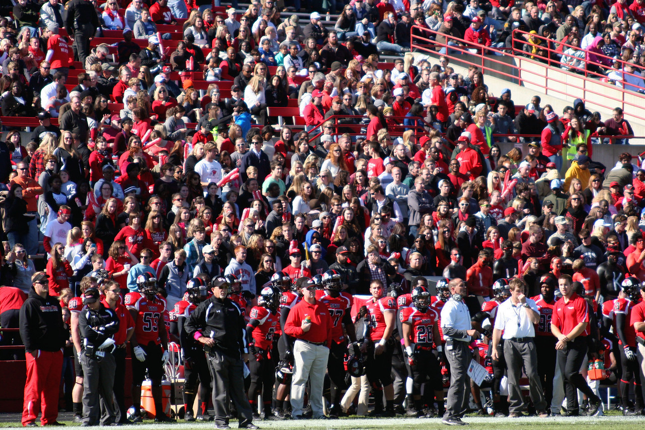 GWU home crowd watching the GWU Runnin' Bulldogs vs. Liberty at the Homecoming 2013 football game.