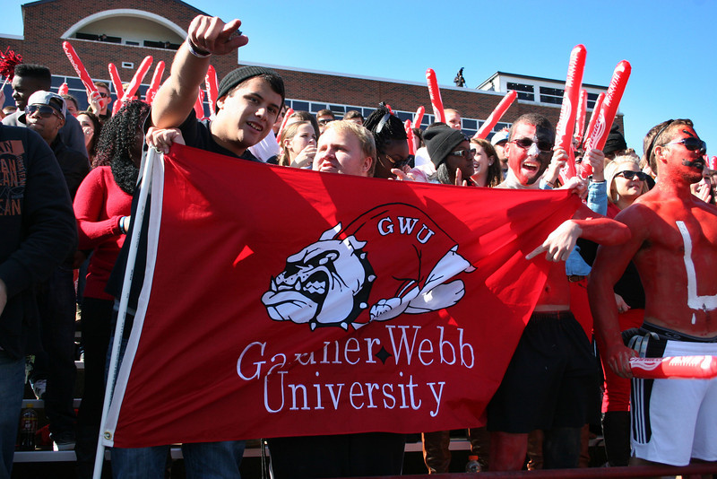 GWU students watching the GWU Runnin' Bulldogs vs. Liberty at the Homecoming 2013 football game.
