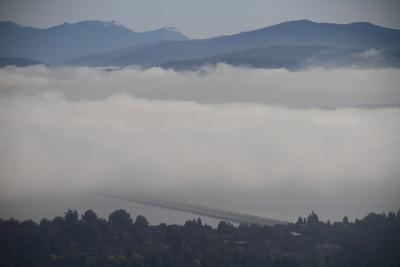 I-90 bridge disappearing into the fog
