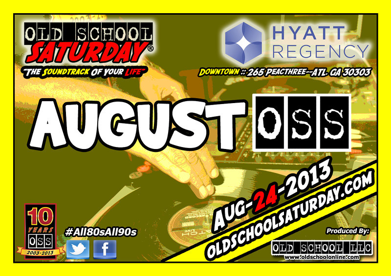 "Our AUGUST event will be BACK at The Hyatt Regency DOWNTOWN.  Join us 8/24/13 for another evening of ""The Soundtrack Of Your Life.""  Info, Tickets, 411, and More:   <a href=""http://www.oldschoolsaturday.com"">http://www.oldschoolsaturday.com</a> ::  <a href=""http://www.twitter.com/oldschoolsat"">http://www.twitter.com/oldschoolsat</a> :: #All80sAll90s ::  <a href=""http://www.facebook.com/oldschoolsaturday"">http://www.facebook.com/oldschoolsaturday</a>"