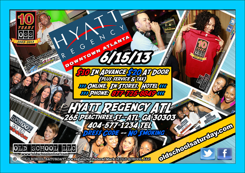 """The YEAR-LONG celebration continues June-15-2013 at The Hyatt Regency DOWNTOWN. Join us to enjoy all 80s and 90s music. Tickets, VIP tables, 411, FAQs, and more: <a href=""""http://www.oldschoolsaturday.com"""">http://www.oldschoolsaturday.com</a> ::: <a href=""""http://www.facebook.com/oldschoolsaturday"""">http://www.facebook.com/oldschoolsaturday</a> ::: <a href=""""http://www.twitter.com/oldschoolsat"""">http://www.twitter.com/oldschoolsat</a> ::: #OSS10years @oldschoolsat"""