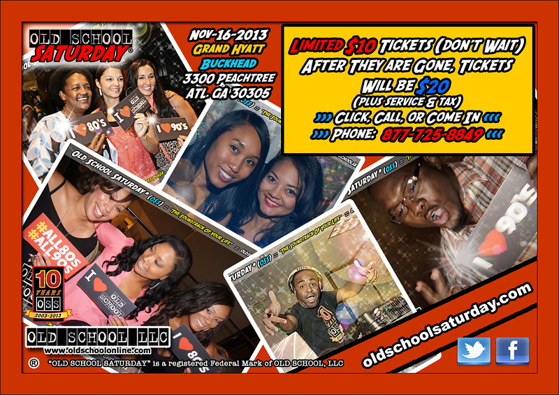 """November's event will be BACK IN BUCKHEAD.  Limited $10 tickets.  See our site for full information.   <a href=""""http://www.oldschoolsaturday.com"""">http://www.oldschoolsaturday.com</a>"""