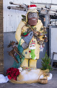 Christmas fisherman on the municipal wharf in Monterey.
