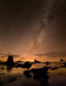 Milky way over the little beach at Westport, CA.