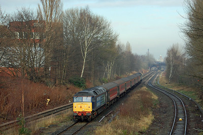 47818 approaches Heaton Norris Junction with 5Z45 0900 Crewe DMD to Stoke Sideways Loop (via Liverpool and Manchester) driver training run (15/01/2013)