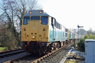 After a lengthy wait, 31235 eventually arrived at Thuxton with 1D021030 from Wymondham Abbey Loop to Dereham. 47580 is 'inside' to provide the train with some heat (09/02/2013)