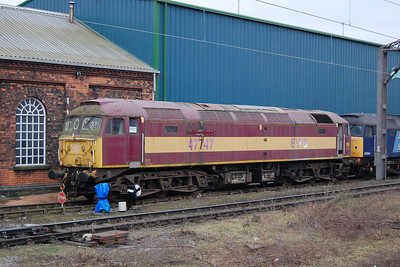 47747 is pictured outside the DRS depot at Gresty Bridge from a passing charter train. The loco was purchased from Riviera Trains as a sources of spares in 2011 (01/03/2013)