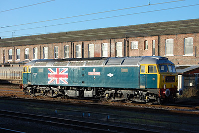 'County of Essex' had made the journey up from Norfolk a week earlier to test the ETS on some overhauled mk4 coaches in the Wabtec complex. Its next port of call was anticipated to be the Weardale Railway to collect a rake of stock used on the line's 'Polar Express' services at the end of last year (02/02/2013)