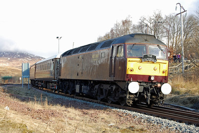 Making is way back south, 47826 pauses at Rannoch with Statesman Rail's 1Z58 0847 return charter from Fort William to Worcester Shrub Hill, which it worked throughout (02/03/2013)