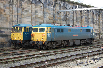 A glimpse of the past at Carlisle: 86101 and 87002 'Royal Sovereign' are stabled between overnight 'ice-breaking' duties (01/03/2013)