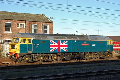 47580 is pictured in Doncaster West Yard shortly after sunrise on a beautiful February morning. I did hang around for an hour or so to see if the shadows on the front end would disappear, but if anything they became worse (02/02/2013)