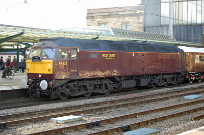 Later that afternoon 47826 is pictured again at Carlisle with 1Z58 during a short break to top up the train's water supplies (02/03/2013)