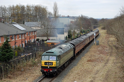 On the second day of the East Lancashire Railway's Diesel Weekend, 47402 approaches the Market Street overbridge on the outskirts of Bury with 2J83 1445 Heywood - Rawtenstall (03/03/2013)