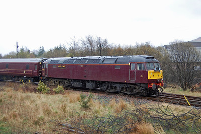 The outward leg of 1Z56 had crossed 47804 + 47237 top-and-tailing the 'Royal Scotsman' at Glenfinnan, and the latter is seen here from the passing train in Fort William yard with the empty stock as we arrived back from Mallaig (04/05/2013)