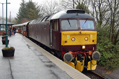 47760 had been on the rear of the otward leg, and after re-attaching the three additional coaches handled the return 1Z57 1640 Fort William - Glenrothes throughout. The train is pictured here waiting to cross a northbound ScotRail service at Arrochar & Tarbet (04/05/2013)