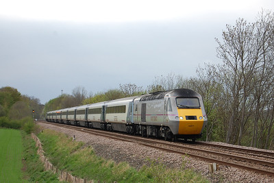 43277 passes Newthorpe with the return 1A40 1605 Leeds - Peterborough. East Coast trains were being diverted via Hambleton all day because of engineering work on the main Leeds to Doncaster route (05/05/2013)
