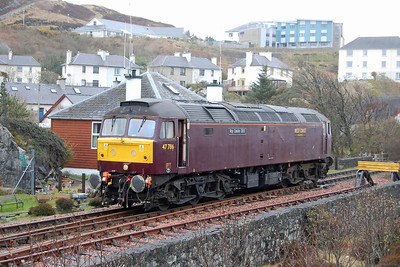 47786 is pictured again during the run-round at Mallaig. There can't have been too many occasions when a '47' has performed this particular manoeuvre as charter trains are usually top-and-tailed to accommodate the maximum nine-coach train length (04/05/2013)